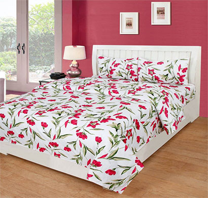 panipat direct (pddb01) white microfiber printed double bedsheet with 2 pillow covers