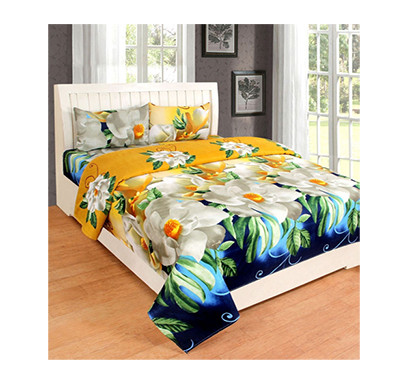 panipat direct (pddb01) microfiber double bed sheet with two pillow covers (yellow)
