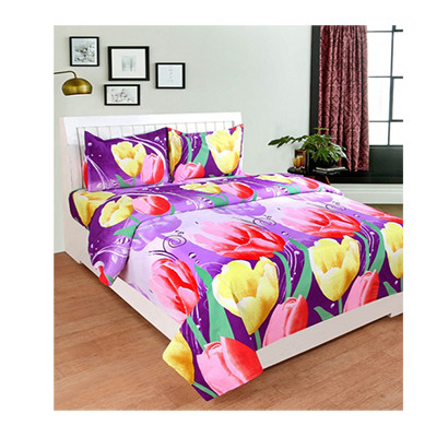 panipat direct (pddb01) ( multicolor) microfiber double bed sheet with two pillow covers
