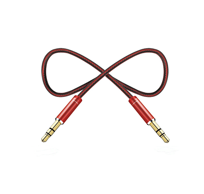 pebble pnca10 1 mtr nylon braided aux cable (red)