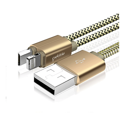 pebble pncd10 premium 2 in 1 magnetic nylon braided lightning to usb cable (gold)