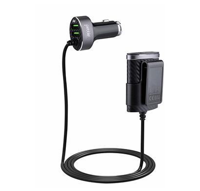 pebble pwc21 4 usb sharing car charger (black)