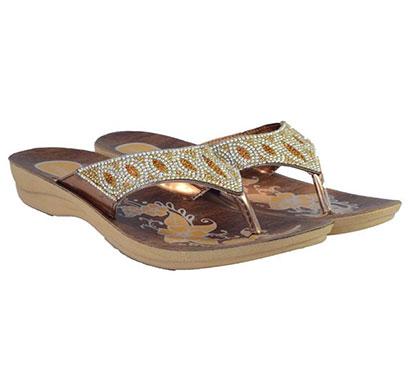 pokrok women pu stylish slippers (zoos3) brown, cream, golden, tan