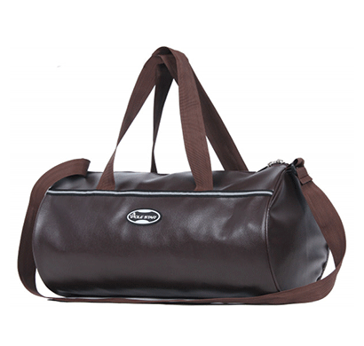 polestar leatherette duffel gym bag (brown)