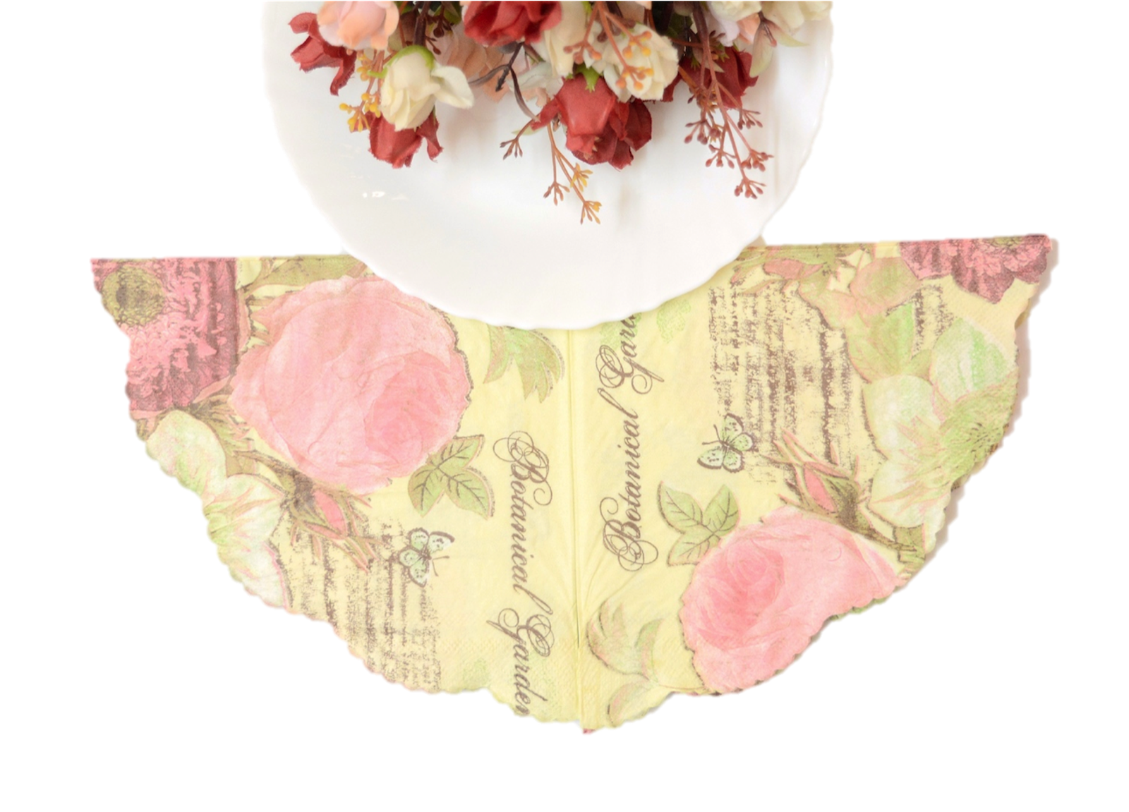 nestroots printed tissue paper doilies dining table napkin yellow (20)