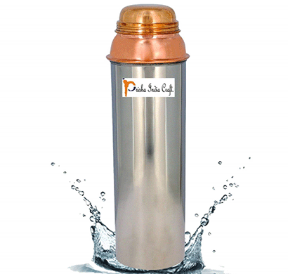 prisha india craft copper water pitcher for the refrigerator new design outside steel inside copper water bottle - sports water bottles/ capacity 750 ml