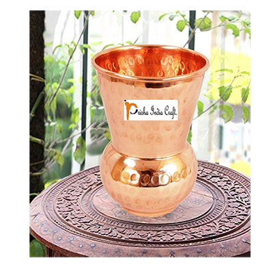 prisha india craft glass005-1 copper muglai matka glass hammered style drinkware tumbler/ capacity 375 ml