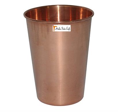 prisha india craft glass017-1 copper cup water tumbler/ handmade water glasses/ capacity 450 ml