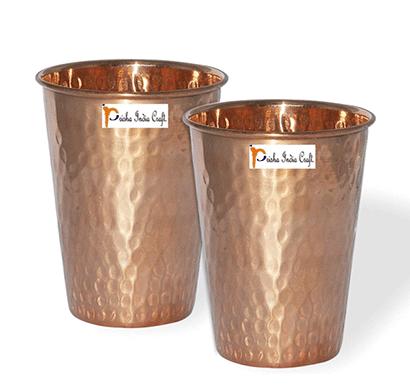 set of 2 - prisha india craft glass101-2 handmade water glass copper tumbler/ capacity 350 ml