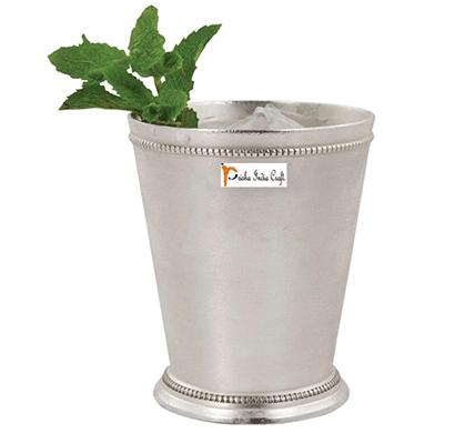 prisha india craft glass033-1 beaded silver mint julep cup/ capacity 300 ml