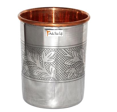 prisha india craft glass025-1 handmade water glass copper tumbler/ capacity 250 ml