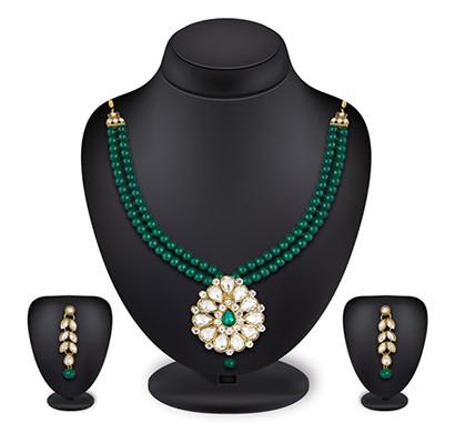 profuzon marketing women's beads necklace set(green,white,red,pink,black)
