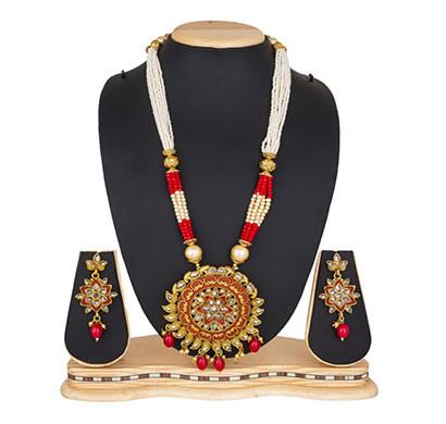 profuzon marketing american diamond, stone and pearl women's necklace set (multicolour)