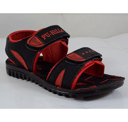 pu hills 5 to 10 size kids sandals black red