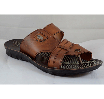 pu hills 6 to 10 size men slipper tan/ brown/ black