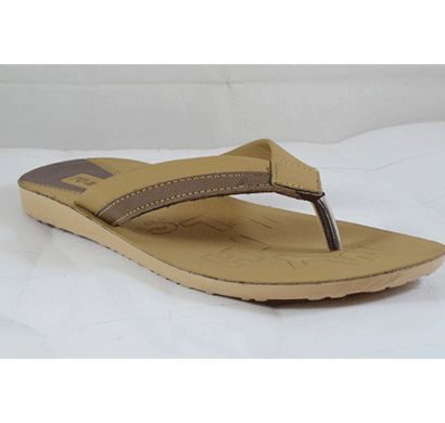 pu hills 7 to 10 size v - shape men slipper tan brown