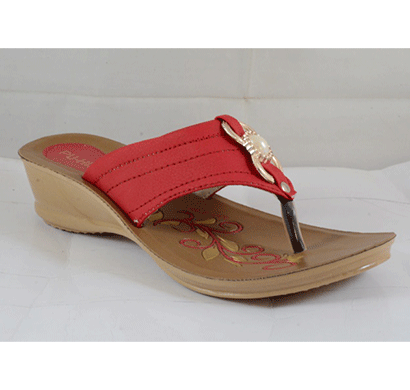 pu hills 5 to 8 size v - shape women slipper red