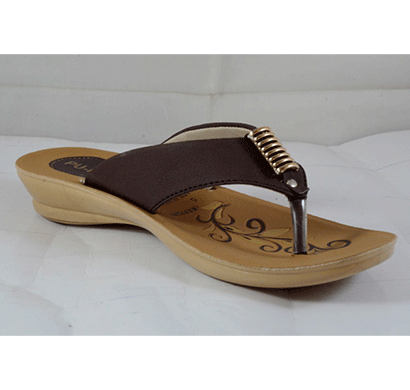 pu hills 5 to 8 size v - shape women slipper rexion brown