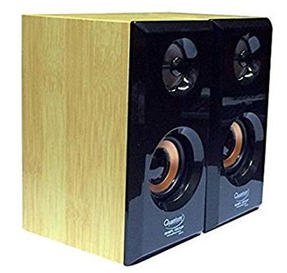 quantum qhm630 2.0 wooden speakers (black)