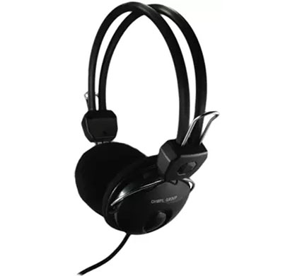 quantum qhm 888 wired headset with mic (black, on the ear)
