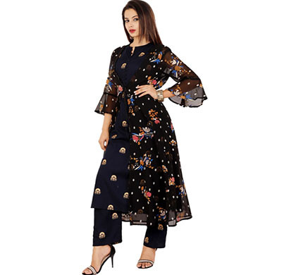 rayon kurti with plazzo and shrugs bl-001(black)