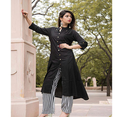 rayon black kurti with plazzo rblk-001