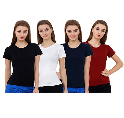 ritzzy 100% cotton bio-washed women half sleeve plain t-shirt multicolor