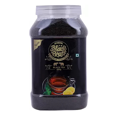 royal black pearl original assam ctc black tea plastic bottle - 500 gm