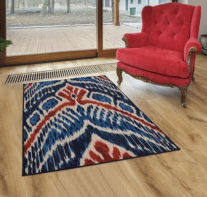 rugsmith (rs000155) navy blue premium qualty modern pattern polyamide nylon crown ikat rug area rug