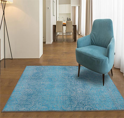 rugsmith (rs000134) sky blue color premium qualty distressed pattern polyamide nylon gradient rug area rug