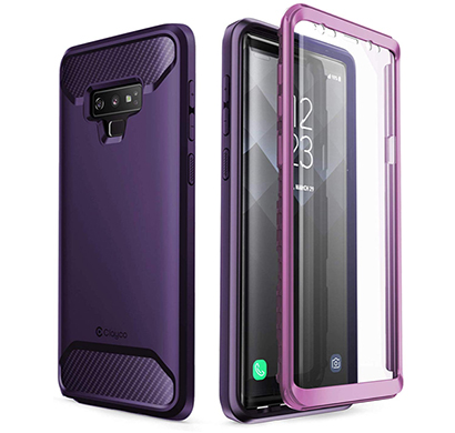 samsung galaxy note 9 case (b07h9yxs7f) clayco (xenon series) full-body rugged case with built-in 3d curved screen protector for samsung galaxy note 9 (2018 release) (purple)
