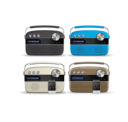 saregama carvaan audio player with remote-porcelain white/ electric blue/ charcoal grey oakwood brown/ walnut brown/ 5000 songs/ fm-am radio/ bluetooth/ usb