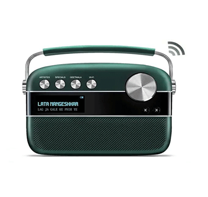 saregama carvaan 2.0 portable digital music player 15000+ songs/150+ daily updated wi-fi based audio stations/fm-am radio/bluetooth/usb/emrald green & classic black