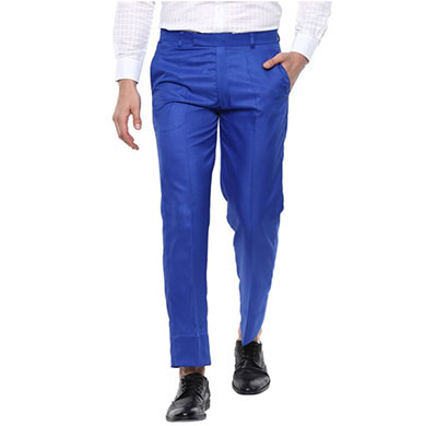 shaurya-f regular fit men trousers/size 32/ royal blue