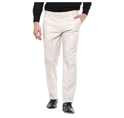 shaurya-f regular fit men linen trousers/ size 34/ beige