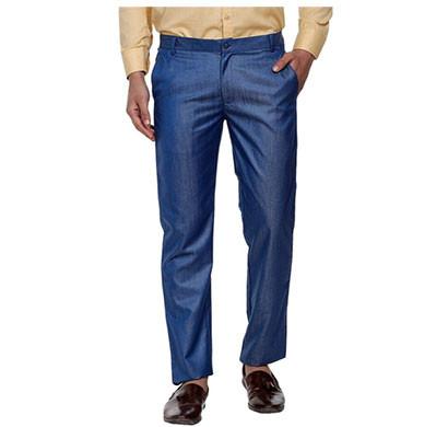 shaurya-f slim fit men plain trousers (blue)