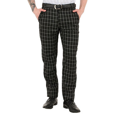 shaurya-f tr-260 slim fit men's black check trousers