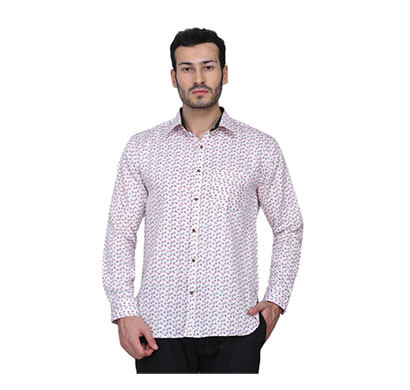 shaurya-f men's solid casual printed shirt (white)