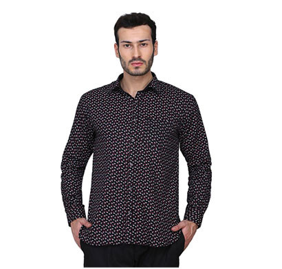 shaurya-f men's solid printed casual shirt (black)