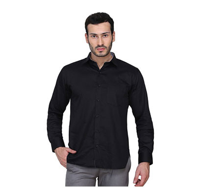 shaurya-f men's solid plain casual shirt (black)