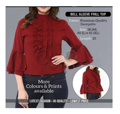shopat777 women round neck premium quality georgette bell sleeves frill top (cherry red)