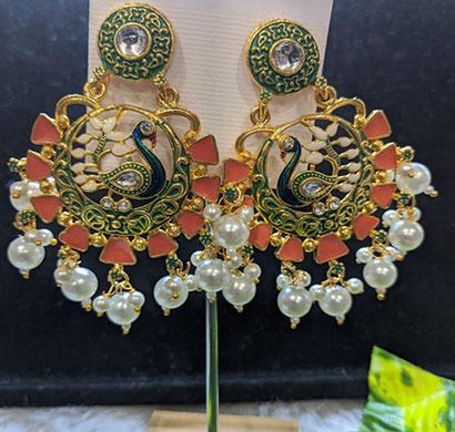 shreeji gold plated peacock inspired kundan multicolour brass earrings for women
