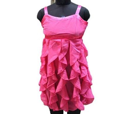 silver kids party wear dress (pink)