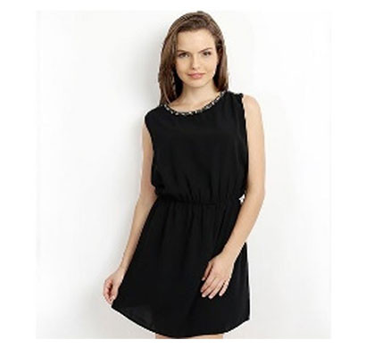 silver ladies mini dress polyester (black)