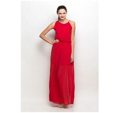 silver ladies designer maxi dress polyester (red)