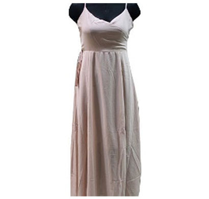 silver plain polyester ladies dress (peach)