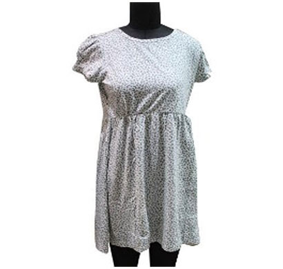 silver ladies cotton white green printed dress