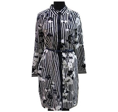 silver ladies polyester black white stripe dress