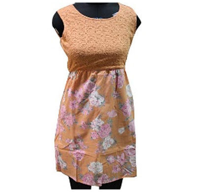 silver ladies cotton printed dress (orange)
