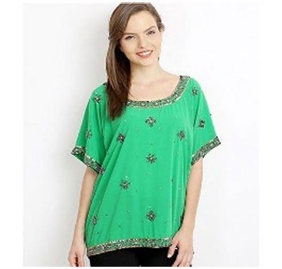 silver ladies polyester embrodiered top (green)